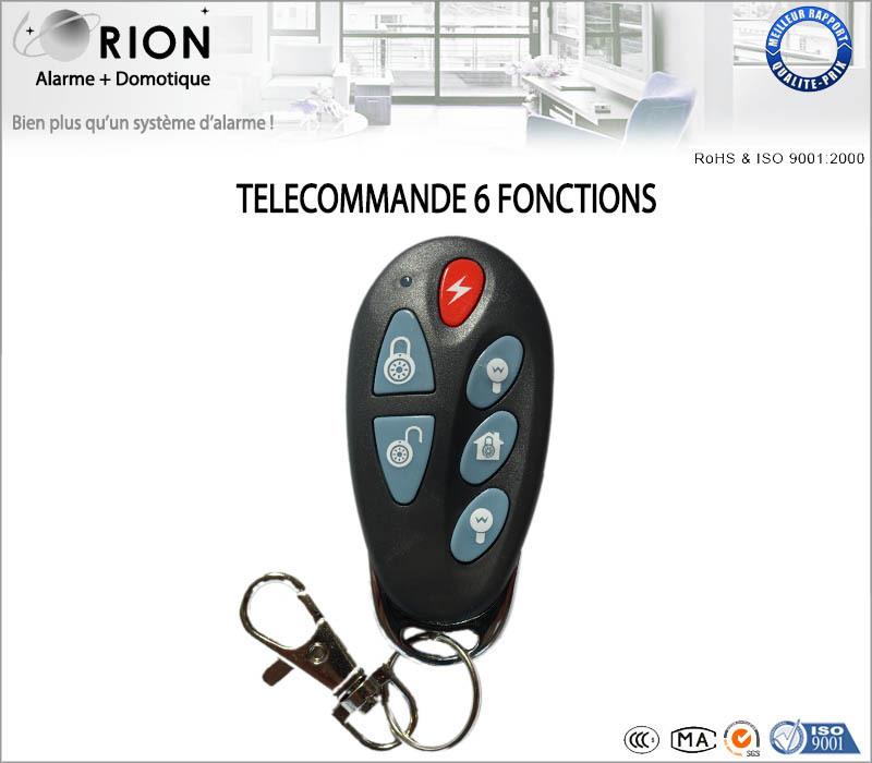 T l commande 6 fonctions pour syst me d 39 alarme sans fil orion for Systeme d alarme pour garage
